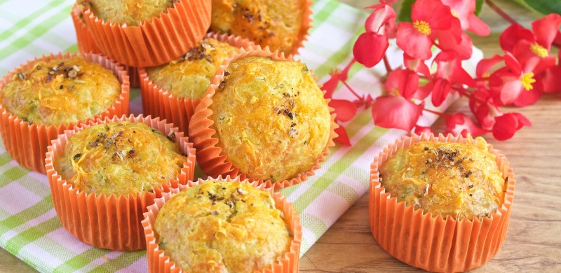 Muffins Courgettes, curry, mimolette